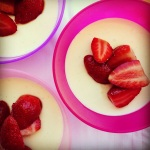 yoghurt panna cottas with fresh strawberries