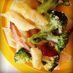 creamy broccoli & bacon pasta bake