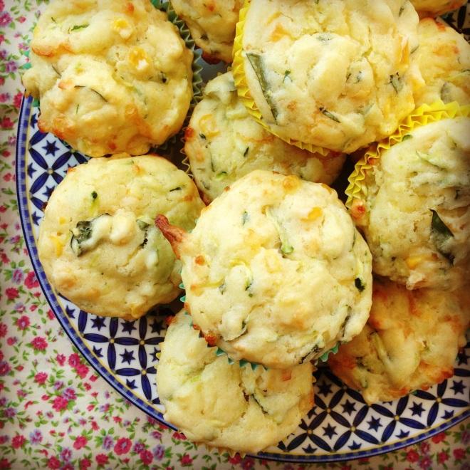 zucchini, corn & cheese muffins