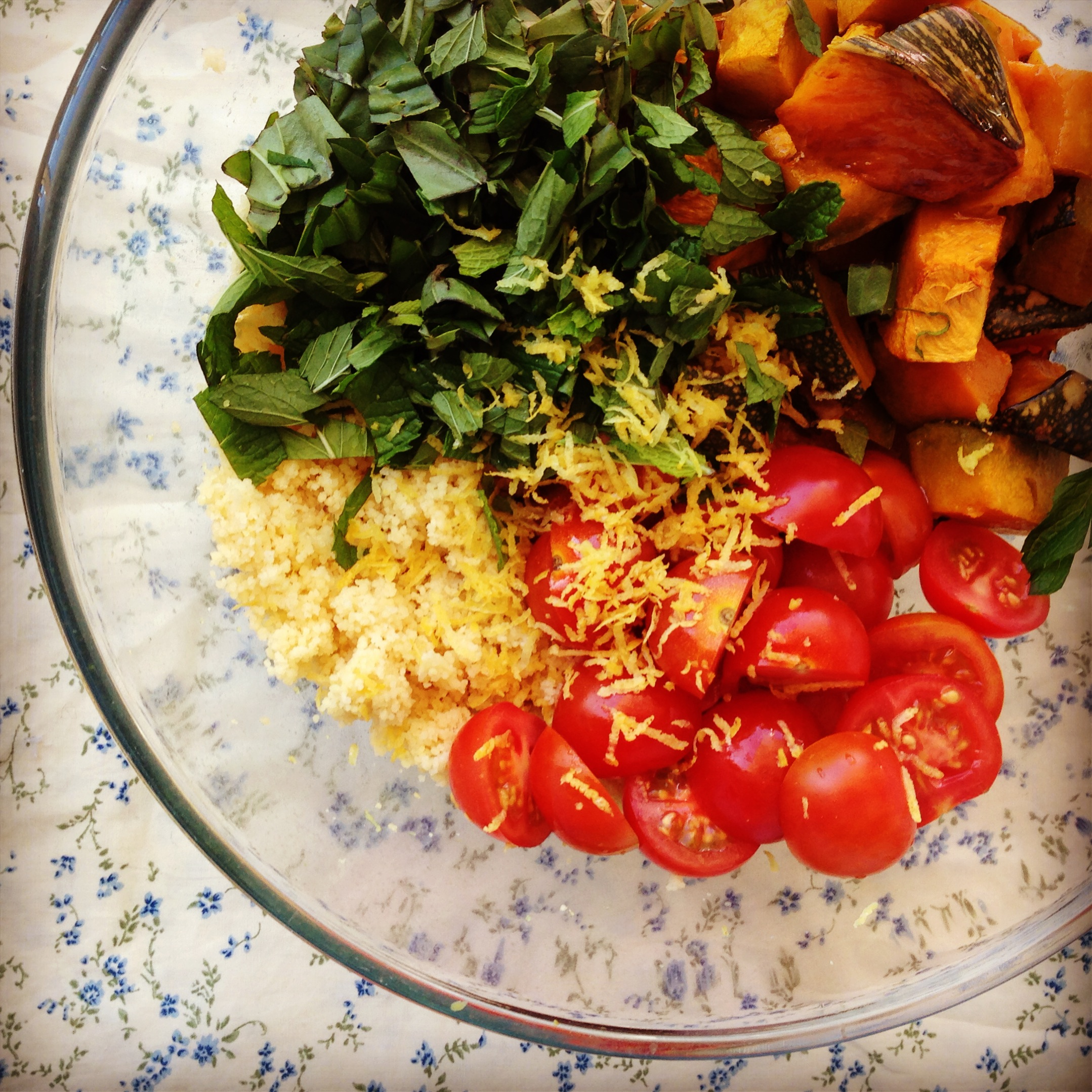 herbs to the couscous along with the roast pumpkin, cherry tomatoes ...