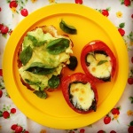 bocconcini & basil stuffed tomatoes w' smashed avo on toast
