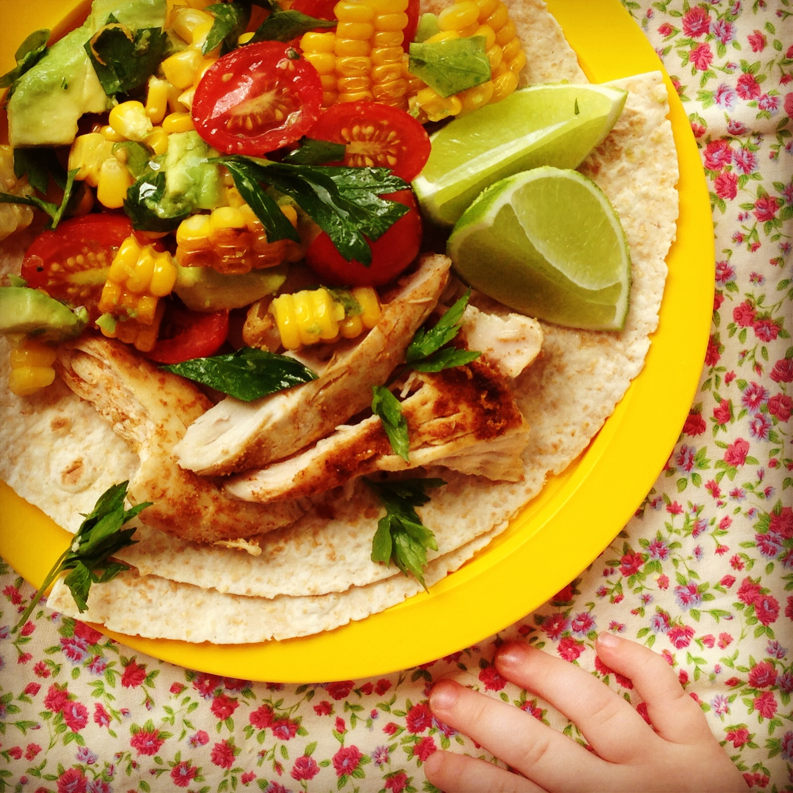 chicken tacos w' grilled corn & avocado salsa   my lovely little ...