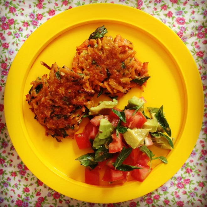 sweet potato fritters w' avocado salsa