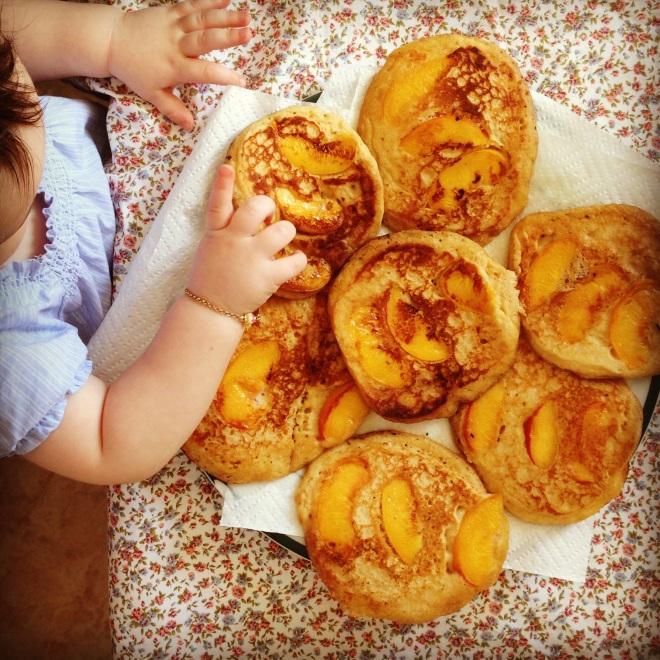 coconut peach pancakes