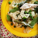 pea & asparagus pasta w' lemony ricotta sauce