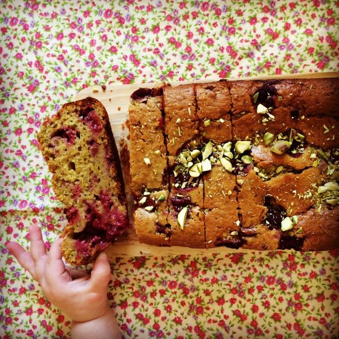 raspberry & pistachio loaf cake