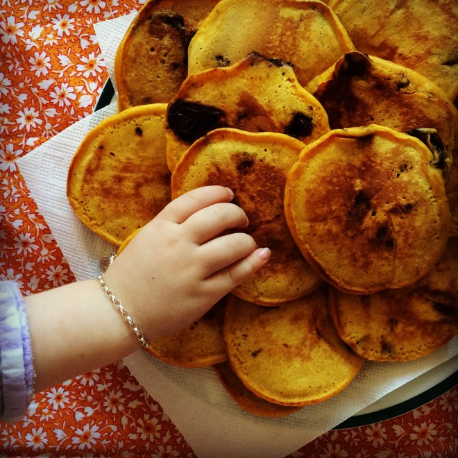 pumpkin choc pancakes