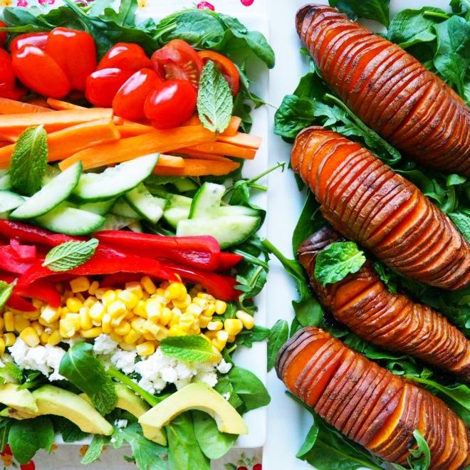 everyday salad w' hasselback potatoes